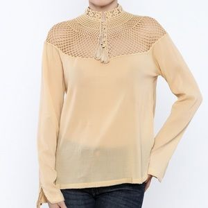 Free People On The Island Peasant Top Beige Small